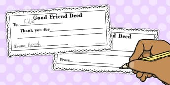 Good Friend Deed Slip and Box Label - good, friend, deed, label