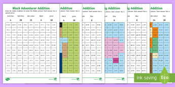 KS1 Block Adventurer Addition Mosaic Activity Sheets - Minecraft, Block Adventurer, Key Stage One, KS1, Year 1, Year 2, Maths, Number, Addition, Adding, Pl