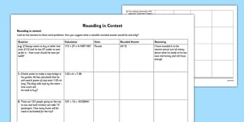 Rounding in Context - interpret answers, units, practical situations, context, rounding