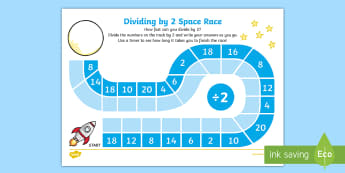 Dividing by 2 Space Race Activity Sheet - worksheets, divide, share, game