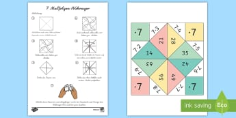 7 Malfolge Wahrsager Spiel - 7 Times Table Fortune Teller - 7 times table, times table, fortune teller, activity, craft, fold, ti