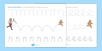 The Gingerbread Man Pencil Control Activity Sheets - gingerbread man