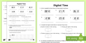 Digital Times Activity Sheet - Time, digital, analogue, 24 hours, minutes, clocks, worksheet, conversion, 24-hour, clock,