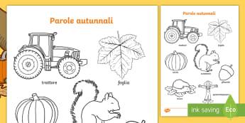 Le parole autunnali Fogli da colorare - colora, autunno, autunnale, colorare, italiano, italian, vocaboli, materiale, scolastico
