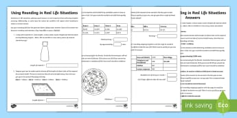 Using Rounding in Real Life Situations Worksheet / Activity Sheet - maths, mathematics, numeracy, fast finisher, addition, add, sum, subtraction, minus, difference, tak