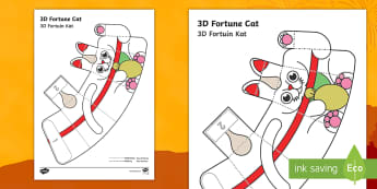 Simple 3D Chinese New Year Fortune Cat Paper Craft English/Afrikaans - January, celebrations, traditions, art, kuns, kreatief, EAL
