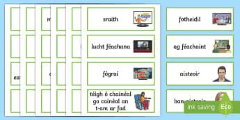 Television Vocabulary Word Cards Gaeilge - television, teilifís, house, teach, mo theach, tV, gaeilge, téamaí, themes,Irish