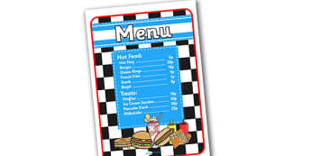 American Diner Role Play Menu In Pence-american diner, role play, menu, diner menu, role play menu, american diner role play, pence, pounds