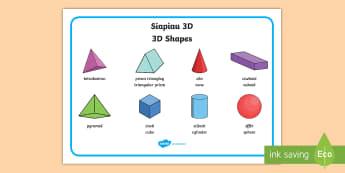 3D Shapes Word Mat English/Welsh - Bilingual Welsh and English Displays, Incidental Welsh, displays, 3D shape, 3D, 3d shape, Siapiau 3D