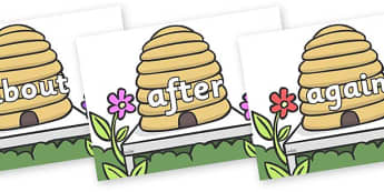 KS1 Keywords on Beehives - KS1, CLL, Communication language and literacy, Display, Key words, high frequency words, foundation stage literacy, DfES Letters and Sounds, Letters and Sounds, spelling
