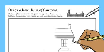 Design a New House of Commons Activity Sheet - election, General Election, activity, sheet, worksheet