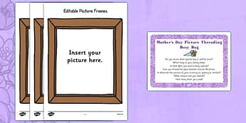 Mother's Day Picture Frame Threading Busy Bag Prompt Card and Resource Pack - photo, photograph, picture frame, family, Mother, threading, pipe cleaner