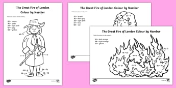 The Great Fire of London Addition to 50 Colour by Number Activity Sheets - The Great Fire of London Addition to 50 Colour by Number Activity Sheets - addition, fire, samuel pe