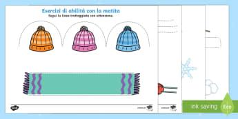 Abilita' con la Matita Invernale - Linea, tratteggiata, motricita\', motricit, esercizio, matita, colori, fogli, italian, italiano