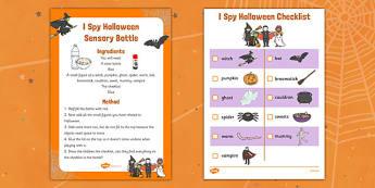 I Spy Halloween Sensory Bottle and Activity Pack - sensory bottle, halloween, I spy, activity, pack, eyfs, early years