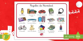 Tapiz de vocabulario: Regalos de Navidad  - navideño, navideña, vocabulario, regalos, regalo, juguetes, juguete, Navidad, tapiz de escritura.