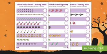 Witch and Animals Counting Sheet - room on the broom, counting sheet, counting, themed counting sheet, numbers, numeracy, maths, counting activities