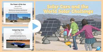 Solar Cars and the World Solar Challenge PowerPoint - solar panels, solar Vehicles, sustainable energy, sun power, ACSSU097, energy source, electricity, r