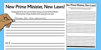 New Prime Minister New Laws Activity Sheet - general election, new, laws, activity, worksheet