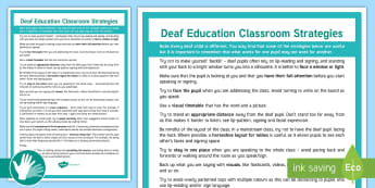 Deaf Education Support Strategies Display Poster - Deaf, BSL, sign language, teacher of the deaf, hearing aid, SSE, teaching strategies, hearing impair