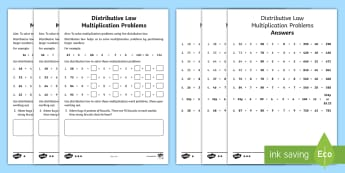 LKS2 Distributive Law Multiplication Differentiated Activity Sheet - Y4, Year 4, Maths, Times tables, short multiplication, Brackets, distribution, multiplying