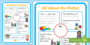 All About Me Maths Display Poster Worksheet - ourselves, maths