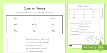 Question Words Activity Sheet - worksheet, Who, What, Why, When, Where, Punctuation, Sentence, language, english, ELA, daily five, w