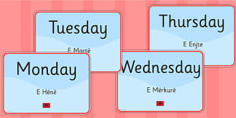 Days of the Week Signs EAL Albanian Version - language, display