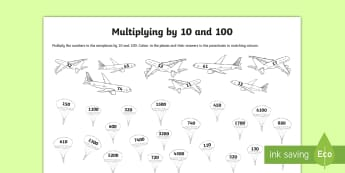 Multiplying by 10 and 100 Activity Sheet - dividing, dividing by 10, dividing by 100, place value, tenths, hundredths, ones, units, decimal