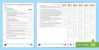AQA (Trilogy) Unit 6.5 Forces Student Progress Sheet - Student Progress Sheets, AQA, RAG sheet, Unit 6.5 Forces