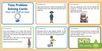 Time problem solving Challenge Cards - NI KS1 Numeracy, time, hour, half an hour, o'clock, problem solving