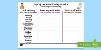 Days of the Week English/German Writing Worksheet