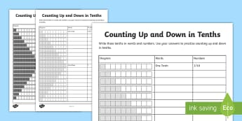 Counting Up and Down in Tenths Activity Sheet - Learning from home Maths Workbooks, fractions, fractions in words, worksheet