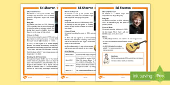 KS1 Ed Sheeran Differentiated Fact File - Pop Musician, Biography, Guided Reading, Answering Questions, Y1 And Y2