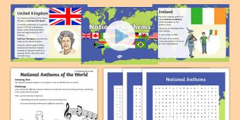 National Anthems KS2 Activity Pack - wales, england, germany, uSA, canada, france, Australia, ireland, spain, music