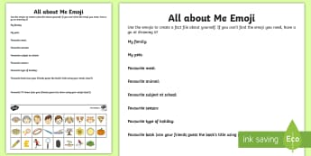 KS2 Emoji All about Me Activity Sheet - ourselves, personal information, getting to know you, transition, back to school.