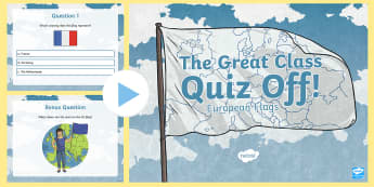 The Great Class Quiz Off European Flags PowerPoint Game - General knowledge, class Quiz, Rotary Quiz, Quizzes, ,Scottish
