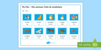 My Pets Word Mat French - writing aid, key terms, chien, chat, cheval, lapin, animals, mes animaux,French