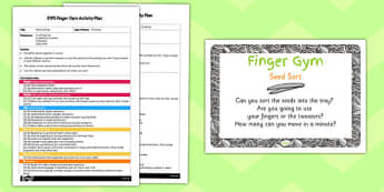 EYFS Seed Sort Finger Gym Activity Plan and Prompt Card Pack
