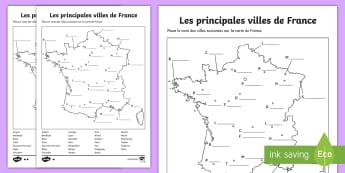 Feuille d'activités différenciée : Les principales villes de France - Cartes géographiques, map,cycle 2, cycle 3,  KS2, villes town, France, cities, activity sheet, feui