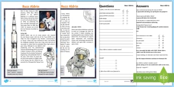 KS2 Buzz Aldrin Differentiated Reading Comprehension Activity - NASA, Apollo, Moon, Astronaut, Space