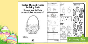 Easter Themed Maths Activity Book English/Romanian - Easter Themed Maths Activity Book - easter, maths, activity, book, easer, easster, eatser, eastere,