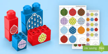 Christmas Bauble Patterns Matching Connecting Bricks Game - EYFS, Early Years, KS1, Connecting Bricks Resources, Duplo, Lego, Plastic Bricks, Building Bricks, C