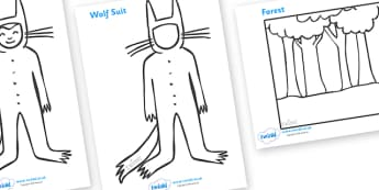 Colouring Sheets to Support Teaching on Where the Wild Things Are - Where the Wild Things Are, Maurice Sendak, Wild Things, resources, Max, wild rumpus, boat, wolf suit, dream, fantasy, story, story book, story book resources, story sequencing, story