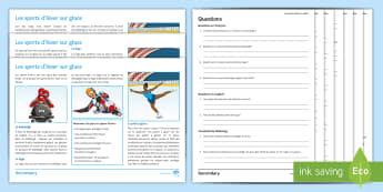 Winter Olympics Differentiated Reading Comprehension Activity French - GCSE, practise, exam, sports, luge, bobsleigh, ice skating, translation, Jeux, Olympiques,French