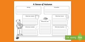 A Sense of Autumn Story Map Worksheet / Activity Sheet - Exploring my world, seasons, Aistear, school trip, forest, worksheet, blackberries, squirrels, leave
