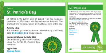 St. Patrick's Day Adult Guidance - Calendar Planning March 2017, Activity Co-ordinators, Support, Ideas, Elderly Care, St. Patrick's D