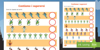 Contiamo i supereroi Attività - super, eroi, numeri, contare, matematica, elementari, materiale, scolastico, italian, italiano