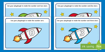 Rocket Playdough Mat (1-10) - Number Playdough mat, playdough resources, numeracy, numbers, playdough