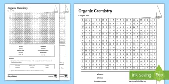 Organic Chemistry Word Search - Hydrocarbons, fractional distillation, alkanes, alkenes, crude oil, keywords